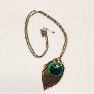 Beautiful Peacock Feather Pendant Necklace